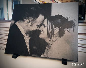 "Premium 10"" x 8"" Engraved Slate Personalised Wedding Photograph"