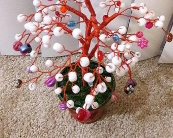 white beads tree