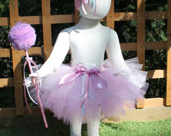 Pink and purple Sparkly Tutu Skirt with Bow. Handmade by The Little Fairy's Emporium
