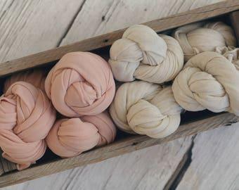 Coral or Seashell Stretch Knit Wrap, Newborn Photography Wrap, Newborn Photography Layers, RTS