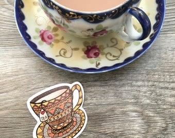 Love Tea  - Vinyl Sticker – Outdoor Durable – Dishwasher Safe