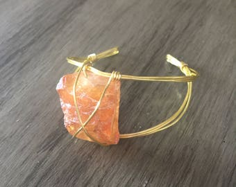 Orange Metallic Stone Bracelet
