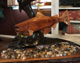 handcrafted wood trout, brown trout decor, home decor, art wood decor