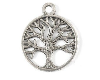 50 Pcs Antique Silver Tree of Life Charm, 24mm x 20mm Tree of Life Bracelet Connectors - Jewelry Connectors