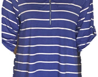 3/4 Sleeve Plus Size Blue with White or Orange with White Stripes Tunic (accessories not included)