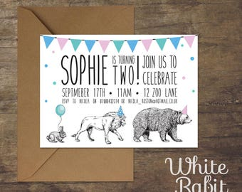 Circus Animal Parade Invitation with envelope