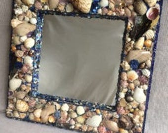 blue glass shellframed mirror