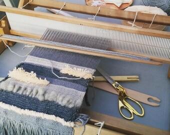 Grey and Peach weaving in progress