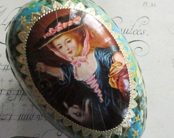 Peper Mache Egg Uncommon Vintage German Forget Me Nots Easter Egg Box 5-1/2 Inch Decorated Dresden Trims