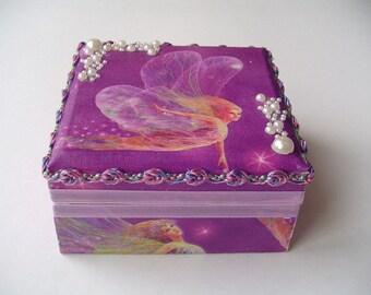 Fairy box, purple  bracelet box, wood jewelry box, little girls gift, beaded bling, dresser decor