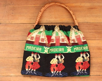 vintage souvenir bag from Madeira Portugal . traditional folk tapestry bag with wicker handles