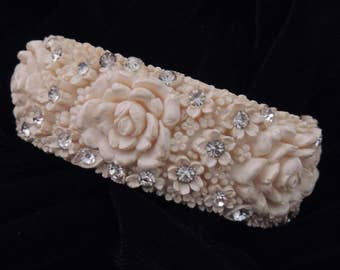 CELLULOID Bracelet, Carved Floral Celluloid Bracelet, Vintage Celluloid Bracelet, Rhinestone Celluloid Bracelet, Clamper Celluloid Bracelet