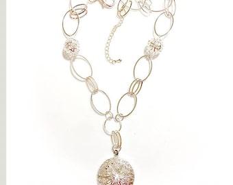 Silver Filigree Locket Necklace