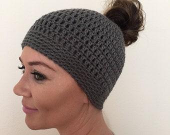 Messy Bun Hat, Hat With Elastic, Grey Ponytail Beanie, Gray Hat for Bun,  Topknot Ladies Crochet hat, messy Bun Beanie
