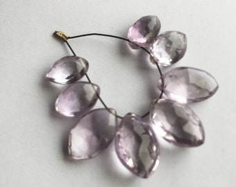 Pink amethyst faceted marquise briolette 8 beads