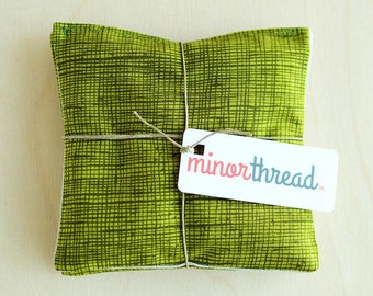 Organic Lavender Sachets in Natural Linen and Green Sketch Cotton Set of 2 Handmade Modern Herbal Pillows Natural Home