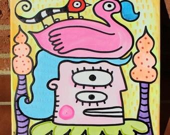 Unicorn Rainbow Girl 12x12 Original Art Painting by Jelene