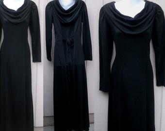 Vintage 70s Black Jersey Maxi Tie Back Dress ~ With Drape Cowl Neck / sz Med