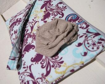 Wedding Clutch 2 pockets,purple,medium, wristlet,cotton,discount plan set - Bellydancer sky