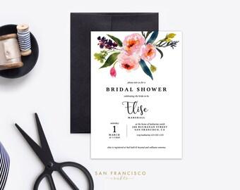 Bridal Shower Invitation |  Printable Bridal Shower Invite | Floral, Spring, Pink, Garden, Watercolor |  Elise Collection  | Digital File