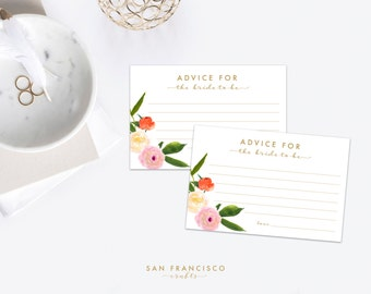 Advice for the Bride Card, 4''x6''   Olivia Collection, Watercolor Floral, Pink, Orange   Printable  - INSTANT DOWNLOAD PDF File