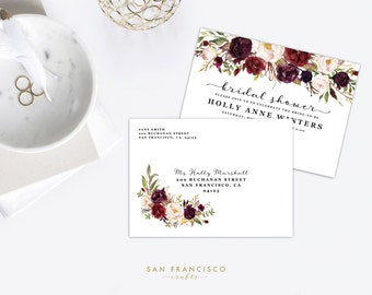 Envelope Template | Address Template | Instant Download | Editable PDF | DIY | A7 Envelope | Bridal Shower, Baby Shower, Wedding | Holly