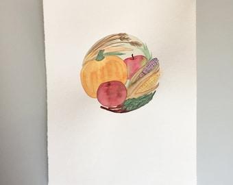 Original Watercolor - Full Harvest Moon