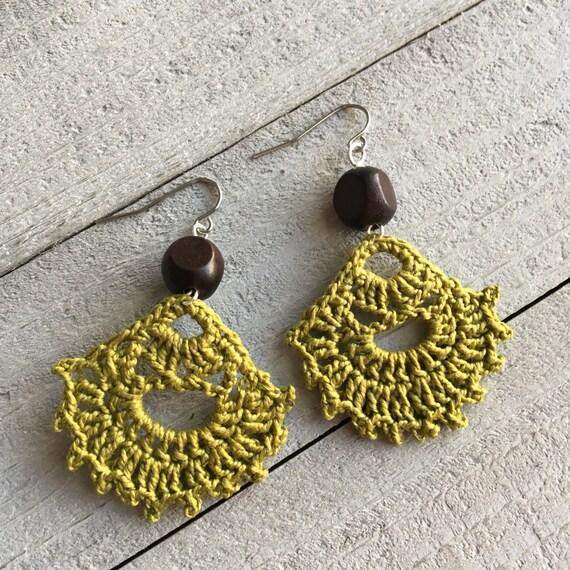 Green Dangle Earrings, Delicate Earrings, Drop Earrings, Colorful Earrings, Hippie Earrings, Dangle Boho Earrings, Gift for Women