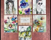 Art print journal cards tipins watercolor nature garden floral small format collage mixed media journaling stationery planner ephemera