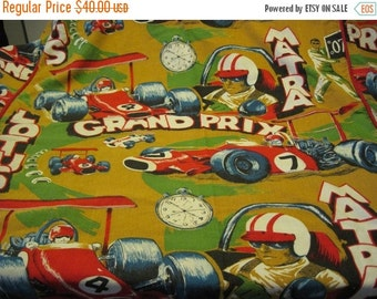 ON SALE Vintage Heavy Duty Twin Size Race Car Themed Bed Cover