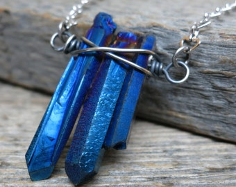 Dance of the Spirits necklace ... sterling silver / wire wrapped titanium blue quartz