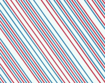 Half yard Airmail Stripe in Red/Blue cotton quilt fabric - Windham Fabrics, Paper Obsessed by Heather Givans