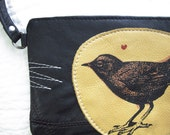 Put a motherflippin Bird on it Wristlet Recycled  Leather clutch