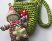Knit gnome doll in a pouch set Waldorf inspired ready to ship