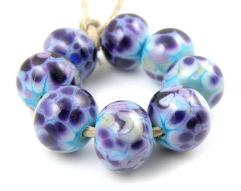 Sour Grapes - Handmade Artisan Lampwork Glass Beads 8mmx12mm - Purple, Violet, Periwinkle - SRA (Set of 8 Beads)