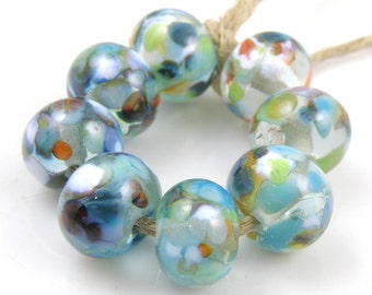 Pond Life - Handmade Artisan Lampwork Glass Beads 8mmx12mm - Multicolour, Blue - SRA (Set of 8 Beads)