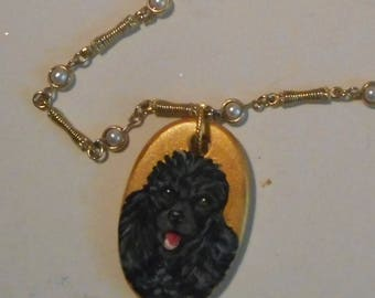Black Poodle Dog Chain Beaded Necklace Hand Painted Ceramic Pendant Jewelry OOAK