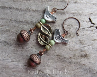 Autumn Day || Zen | Earthy | Organic | Copper Acorn and Bird Earrings | Boho | Hippie | Limited Edition | Earrings Under 20 | Woodland Birds