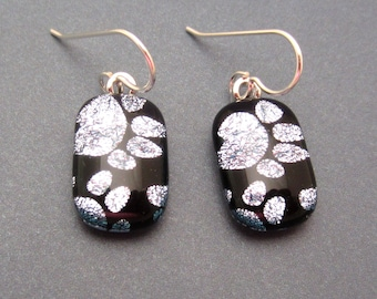 Petite dichroic glass dangle earrings silver paws fused glass jewelry Handcrafted glass sterling silver ear wires puppy kitten paws drop