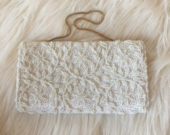 1950s White Satin and Pearl Beaded Clutch by Bags by Debbie Made in Hong Kong