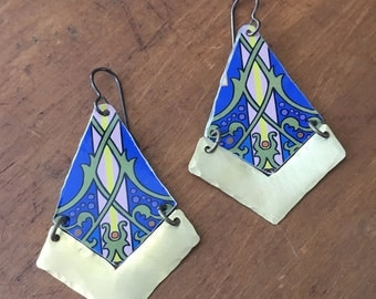 Brass and tin vine earrings