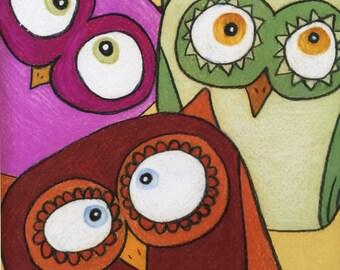 "Owl Trio 8 X 10"" Custom Matted Owl Print"