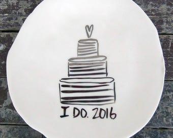 2016 Wedding Dessert Plate w Stripes (SALE)