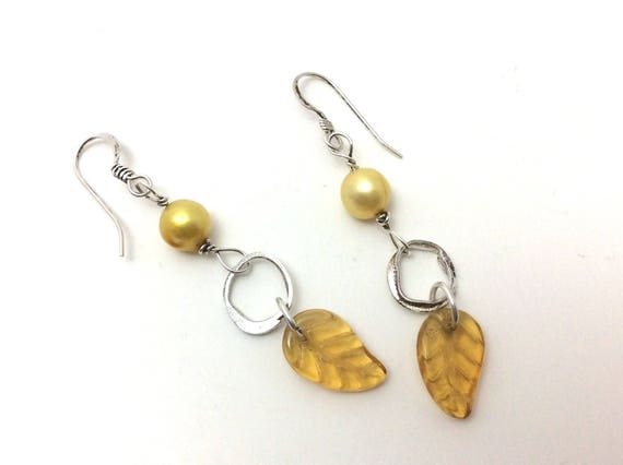 Sterling silver silver orb with honey-yellow pearl and leaf drop earrings