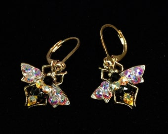 Bee Leverback Earrings with Sparkling Crystal