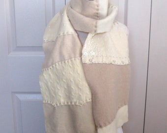Felted Cashmere Scarf  . cashmere patchwork scarf . felted cashmere . made from repurposed Cashmere Sweaters . PEARLY WHITES