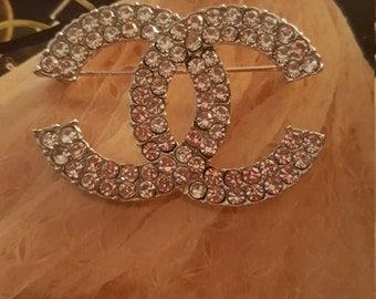 shimmering silver CRYSTAL Brooch Pin