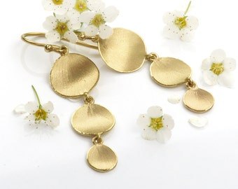 Flower Petal Drop Earrings, Eco Friendly 18ct Gold