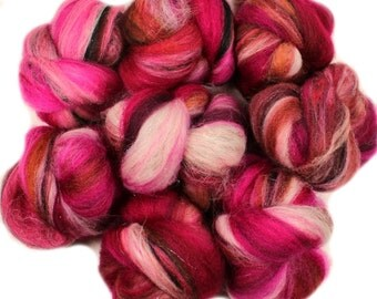 Poppy -- mini batts (2 oz.) BFL wool, organic polwarth, silk, bamboo, holographic sparkle.