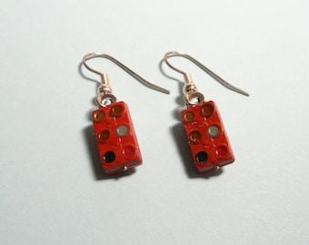 Recycled Capacitor Earrings, Vintage Domino Capacitors, Electronic Parts Dangle Earrings, Dark Red Earrings, Techie Gift, Geek Sheek Jewelry